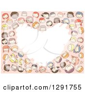 Group Of Happy Diverse Doodled School Children Forming A Heart Frame