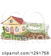 Clipart Of A Sketched Cottage With A Garden In The Yard Royalty Free Vector Illustration