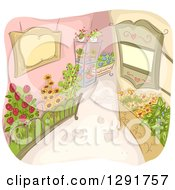 Clipart Of A Sketched Alley With Flower Gardens Royalty Free Vector Illustration