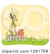 Clipart Of A Sketched Brick Wall With A Vine Pots And Gardening Tools Royalty Free Vector Illustration
