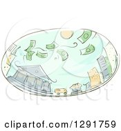 Clipart Of A Sketched Oval Scene Of Money Raining On A City Royalty Free Vector Illustration by BNP Design Studio