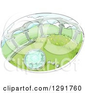 Sketched Oval Scene Of A Garden With Columns And Water Fountain