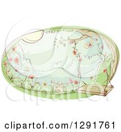 Sketched Oval Scene Of A Swing And Watering Can In A Flower Garden