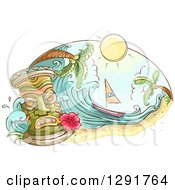 Clipart Of A Sketched Oval Scene Of A Tiki Sailboat Wave And Palm Trees Royalty Free Vector Illustration
