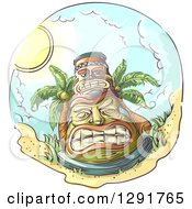 Clipart Of A Sketched Oval Scene Of A Tiki And Coconut Palm Trees On A Beach Royalty Free Vector Illustration by BNP Design Studio