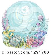 Sketched Oval Scene Of A Reef Jellyfish And Fish
