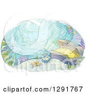 Clipart Of A Sketched Oval Scene Of Sunken Treasure At The Bottom Of The Ocean Royalty Free Vector Illustration