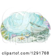 Clipart Of A Sketched Oval Scene Of A Sunken Ship At The Bottom Of The Sea Royalty Free Vector Illustration