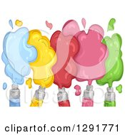 Poster, Art Print Of Sketched Acrylic Paint Tubes With Colorful Spills