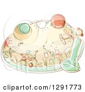 Clipart Of A Sketched Oval Scene Of A Science Lab With Flasks Dna Molecules And Beakers Royalty Free Vector Illustration
