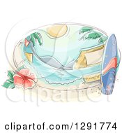 Clipart Of A Sketched Oval Scene Of A Tropical Beach With A Surfboard Hibiscus And Umbrellas Royalty Free Vector Illustration