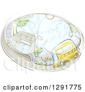 Clipart Of A Sketched Oval Scene Of A School Bus And Building Royalty Free Vector Illustration