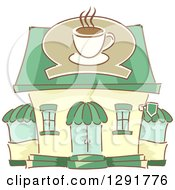 Clipart Of A Sketched Coffe Shop Building Royalty Free Vector Illustration