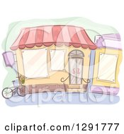 Clipart Of A Sketched Shop With A Bicycle Royalty Free Vector Illustration
