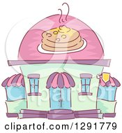 Clipart Of A Sketched Pancake House Restaurant Building Royalty Free Vector Illustration