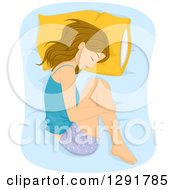 Clipart Of A Dirty Blond Caucasian Woman Sleeping In The Fetal Position Royalty Free Vector Illustration