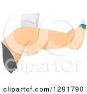 Clipart Of A Doctor Examining A Patients Cramping Leg Royalty Free Vector Illustration by BNP Design Studio