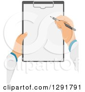 Clipart Of A Male Doctors Hands Writing Notes On A Clipboard Royalty Free Vector Illustration
