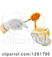 Gloved Hands Using A Honey Dipper