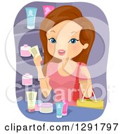 Clipart Of A Brunette Caucasian Woman Stocking Up On Beauty Products Royalty Free Vector Illustration by BNP Design Studio