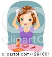 Clipart Of A Happy Brunette Caucasian Woman Dying Her Own Hair Royalty Free Vector Illustration