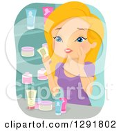 Clipart Of A Blond Caucasian Woman Trying To Choose Beauty Products In A Store Royalty Free Vector Illustration by BNP Design Studio
