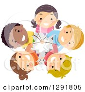 Clipart Of A Circle Of Happy Children Standing With Their Hands All In And Looking Up Royalty Free Vector Illustration