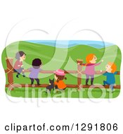 Rear View Of Rural Children And A Dog Hanging Out At A Fence