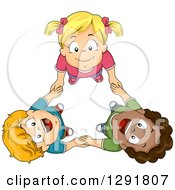 Clipart Of An Aerial View Of Three Happy Children Holding Hands And Looking Upwards Royalty Free Vector Illustration