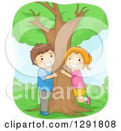 Happy White Boy And Girl Hugging A Tree In A Park