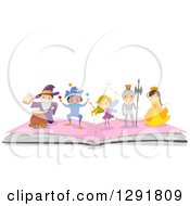 Clipart Of A Happy Wizard Jester Fairy Knight And Princess On An Open Book Royalty Free Vector Illustration