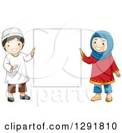 Clipart Of Happy Muslim Children Holding A Blank Sign Royalty Free Vector Illustration