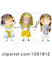 Clipart Of Three Happy Chidlren Dressed As Ancient Egyptians Royalty Free Vector Illustration by BNP Design Studio