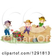 Clipart Of Happy Country Farm Children Playing With Hay And Apples Royalty Free Vector Illustration