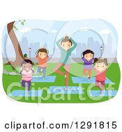 Clipart Of A Female Teacher And Children Doing Yoga In A City Park Royalty Free Vector Illustration