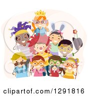 Clipart Of A Group Of Happy Children With Mustache Wig And Sunglasses Photo Booth Props Royalty Free Vector Illustration by BNP Design Studio