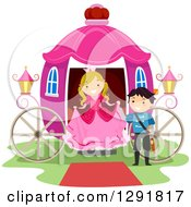 Clipart Of A Chivalrous Prince Helping A Princess Step Out Of A Pink Carriage Royalty Free Vector Illustration