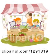 Clipart Of A Friendly Woman Teaching Children How To Operate A Fruit And Vegetable Produce Stand Royalty Free Vector Illustration