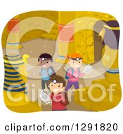 Clipart Of Happy Children Exploring An Ancient Egyptian Pyramid Royalty Free Vector Illustration