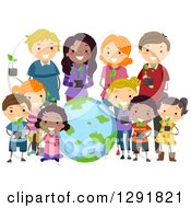 Clipart Of A Diverse Group Of Children And Adults Holding Seedling Plants Around Earth Royalty Free Vector Illustration