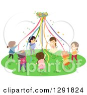 Clipart Of A Group Of Happy Girls Dancing Around A May Pole Royalty Free Vector Illustration