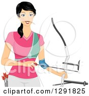 Clipart Of A Happy Black Haired Irish Woman Archer Holding A Bow And Arrow Royalty Free Vector Illustration by BNP Design Studio
