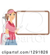 Clipart Of A Happy Brunette Caucasian Female Golfer Caddy Presenting A Blank White Board Royalty Free Vector Illustration