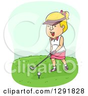 Clipart Of A Cartoon Blond Caucasian Woman Golfing Royalty Free Vector Illustration