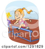 Clipart Of A Cartoon Competitive Red Haired Caucasian Woman Leaping Hurdles On A Track Royalty Free Vector Illustration by BNP Design Studio