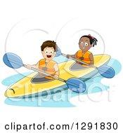 Happy White Boy And Black Girl Kayaking