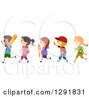 Clipart Of A Line Of Happy Children With Cricket Gear Royalty Free Vector Illustration by BNP Design Studio