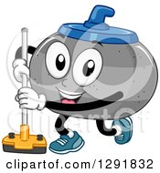Clipart Of A Cartoon Happy Curling Stone Character With A Broom Royalty Free Vector Illustration