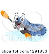 Cartoon Happy Blue River Raft Holding A Paddle