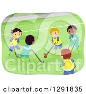 Clipart Of Happy Boys Playing Field Hockey Royalty Free Vector Illustration by BNP Design Studio